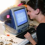 Image of student databasing grasshoppers