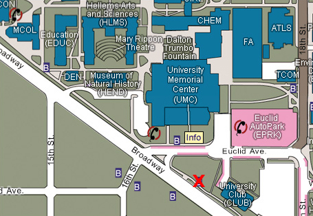 Map of the CU Campus with Euclid parking and Museum building labeled